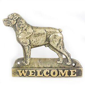 Rottweiler - Plaque De Laiton Avec Un Chien 'welcome' Art Dog Fr