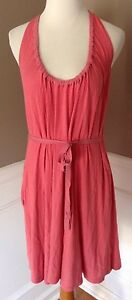 Theory-Size-P-XS-Sleeveless-Coral-Pink-Knit-Shift-Dress-W-Silk-Trim-amp-Front-Tie