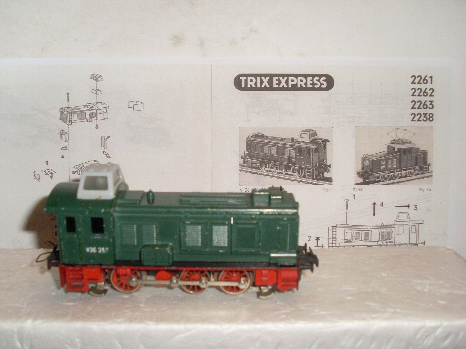 Trix Express 2261 Diesellok V36 257 der DB m. Kanzel, Bj.1959-68, guter Zustand  | Realistisch