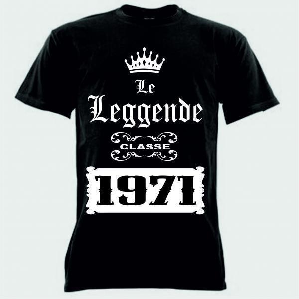 10 T-shirt nera uomo donna scritta le leggende CLASSE 1971  anno festa coscritti