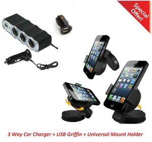 Universal-Car-Windscreen-Mount-Holder-Charger-Griffin-3-Way-For-iPhone-Nokia-HTC