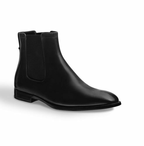 MEN HANDMADE GENUINE LEATHER Schuhe BLACK ANKLE HIGH CHELSEA CASUAL BOOTS