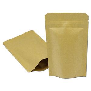 Stand Up Kraft Paper Aluminum Foil Zip Lock Food Packaging Bag Mylar
