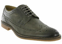 Grey Brogue Shoes Base London Leather Milton 5 Eye Mens Formal Lined Lace