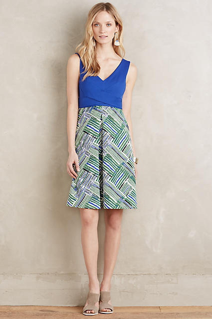 NEW ANTHROPOLOGIE Ardmore Dress 0 XS Extra Small by Maeve bluee Motif