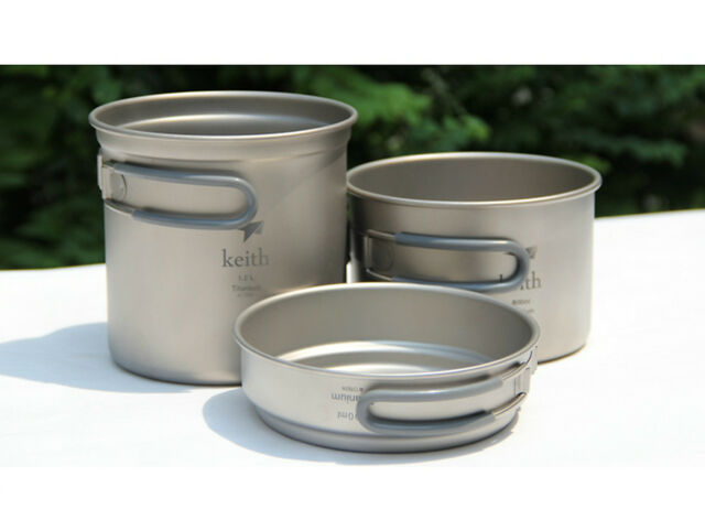 Keith Titanium Pot Picnic 3pcs Cookware Set 0.4+0.8+1.2L 295g Ti6014 w/ Bag
