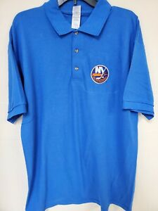 0909 Mens NHL Team Apparel NEW YORK ISLANDERS Polo Golf Jersey Shirt ROYAL New
