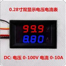 DC 0-100V 10A Voltmeter Ammeter Red+ Blue LED Amp Dual Digital Volt Meter Gauge