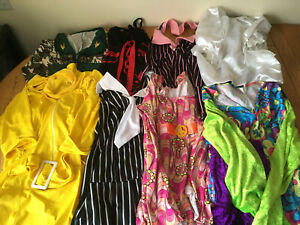 Mixed-Lot-Of-8-Womens-Fancy-Dress-Costumes-Hippie-Gangster-Military-Pirate-Adult