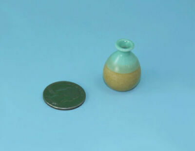 Dollhouse Miniature Beachy Two Tone Sand /& Light Turqoise Porcelain Vase #CFV33