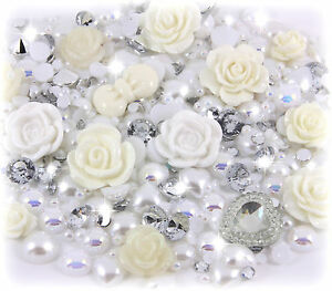 'mariage journée' 20g Blanc & IVOIRE PERLE & pierres précieuses Set decoden KIT kuUJogiI-07184716-611561134