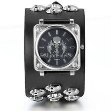 Men's Gothic Skull Sword Quartz Punk Wrist Watch Wide Black Leather Strap Cuff