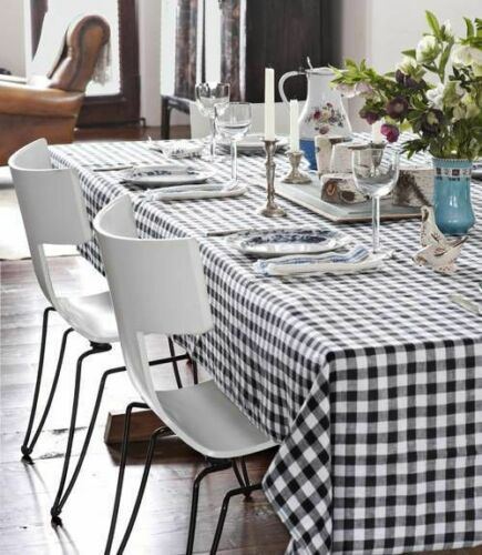 Country Table Cloth BLACK GINGHAM Tablecloth 130x180cm Rectangle