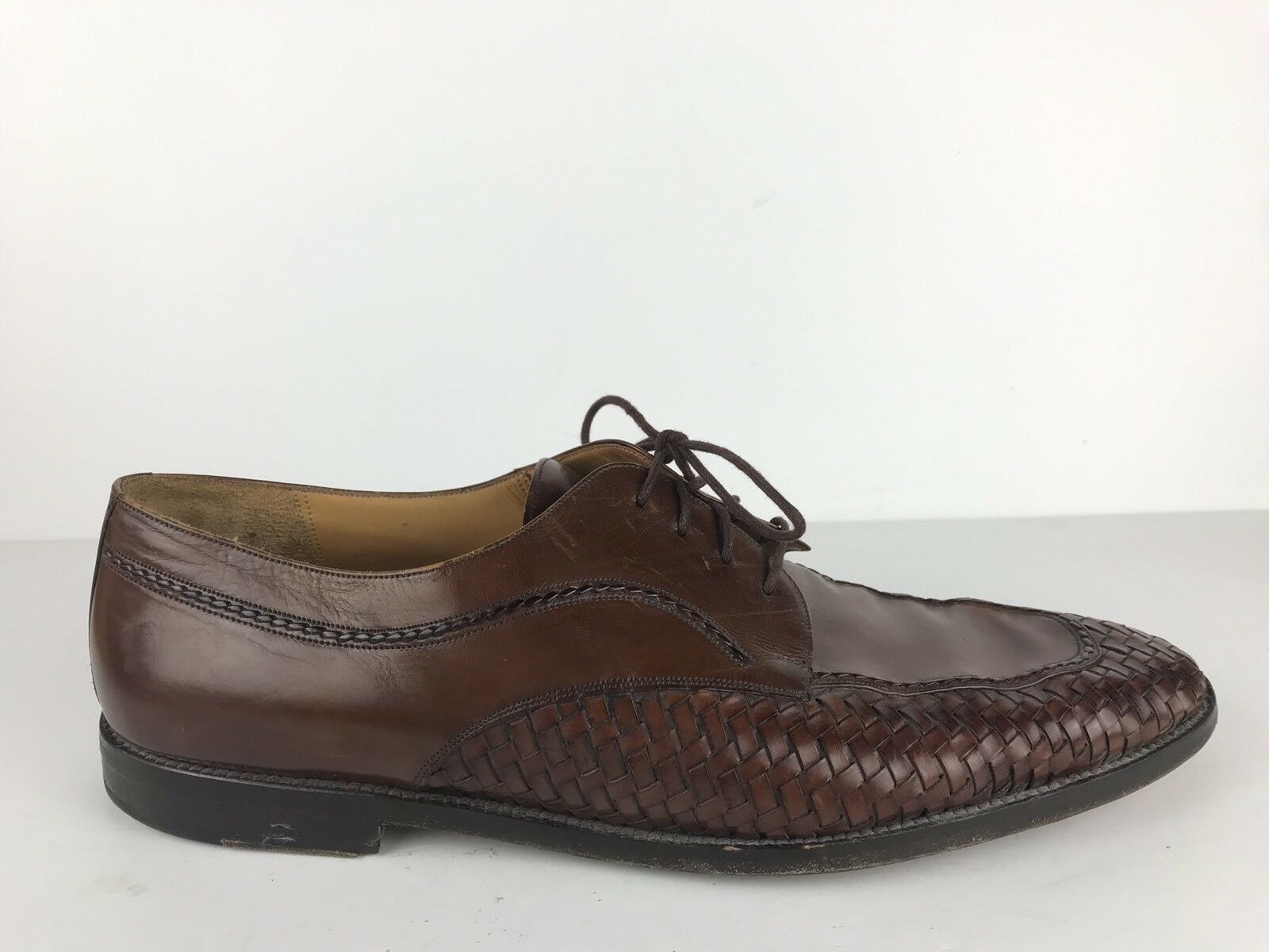 Men's Sz 15 Mezlan Bogota Brown Leather Derby Dress shoes Woven Made in Spain