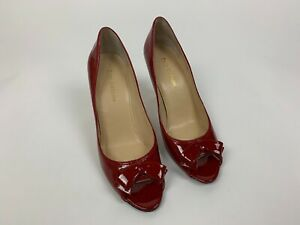 81c9db9f921 Details about NEW Enzo Angiolini Red Patent Leather Bow Peep Toe Heels  Shoes 9 M