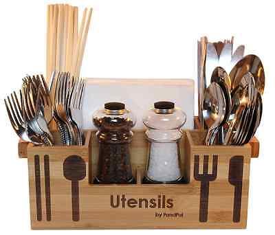Bamboo Wooden Utensil Caddy Flatware Holder Silverware Organizer Storage Kitchen
