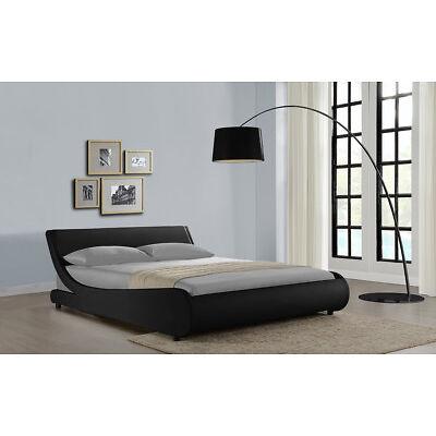 4FT6 Double Bed Frame Black Faux Leather Designer Curved Design Bedroom