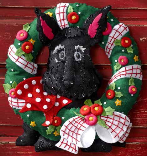 Bucilla Scottie Dog Wreath ~ Felt Christmas Home Decor Kit #86681 Black New 2015