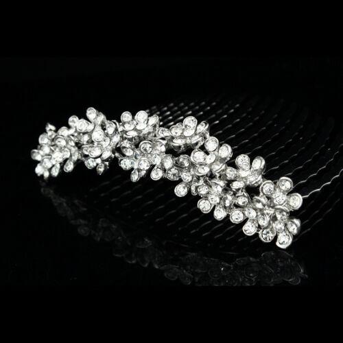 Floral Bridal Rhinestone Crystal Prom Wedding Tiara Hair Comb V812
