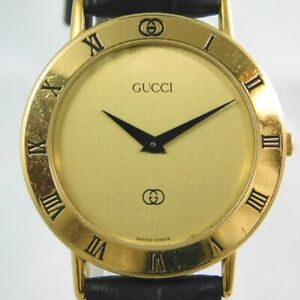 GUCCI 3000M MEN'S GOLD DIAL VINTAGE SWISS MADE WATCH QUARTZ NEW BELT