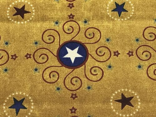 Fabric Western Stars Stripes Medallions on Gold Cotton by the 1//4 yard