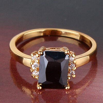 24k yellow gold filled eye-catching black sapphire crystal ring Sz5-Sz9
