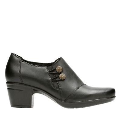 Clarks Emslie Warren  Heel Shooties Leather Womens Mid Heel Pumps Shoes Mid Heel