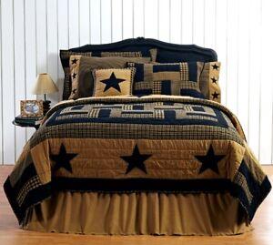 Delaware-Star-FARMHOUSE-KING-QUILT-Black-Khaki-Includes-BONUS-PILLOW-CASES