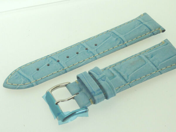 # L300 # Uhrenarmband Leder Juwelier QualitÄt 22 Mm Hellblau Naht Kroko-optik Top Wassermelonen