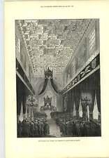 1877 cerimonia NOTRE DAME DE Lorette Funerale Thiers Incisione