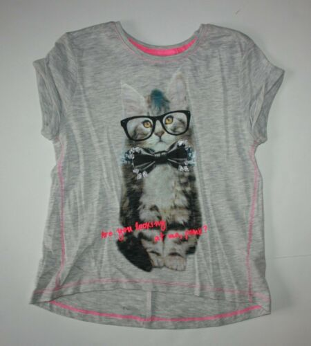 New NEXT UK Girls Boutique Kitty Cat with Glasses Top Size 4T 5T 110cm NWT Gray