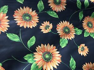 Black-Yellow-Daisy-Floral-Print-Poly-Cotton-Fabric-Sold-By-The-Yard-59-034