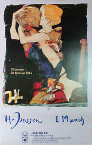 Horst Janssen-Galleri KB (1994) esposizione manifesto/offset firmato a mano.