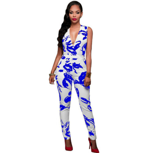 Women Deep V Neck Sleeveless Slim Fit Jumpsuit Summer Club Bodysuit Party Romper
