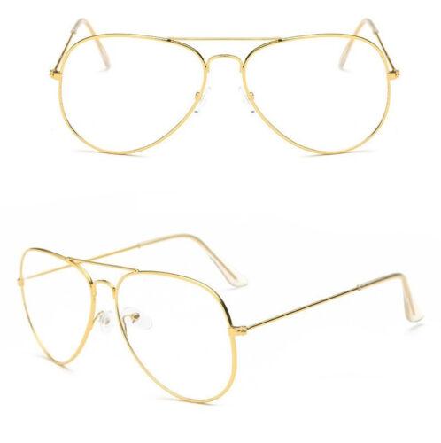 Gold Klarglas Brille Klassisch Piloten Tränenform Rahmen Herren Damen