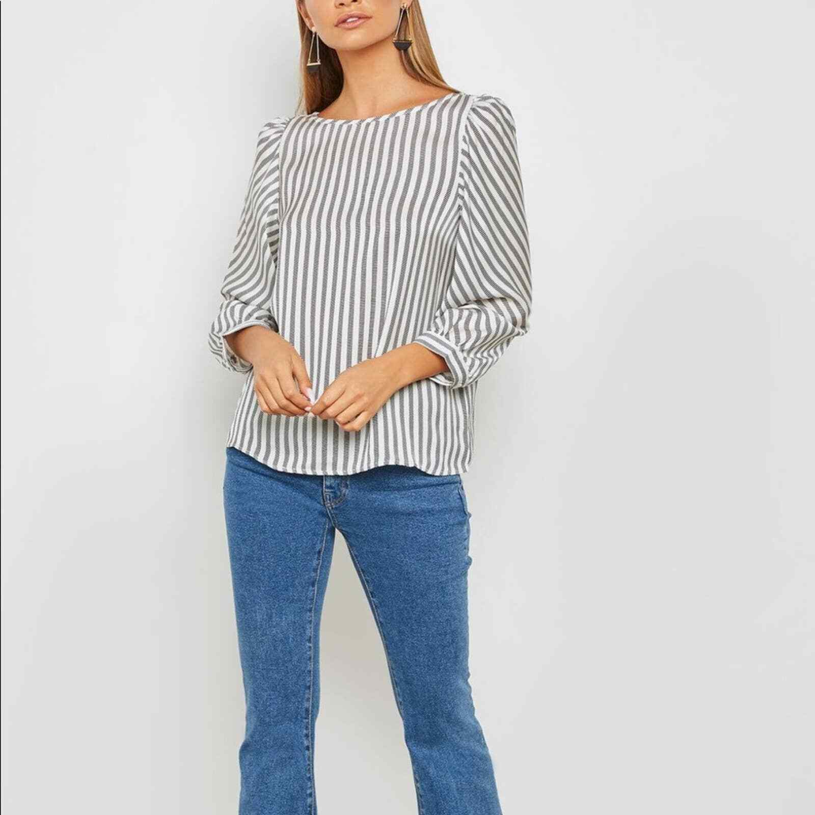 ANTHROPOLOGIE W5 striped puffed shoulder blouse s… - image 7