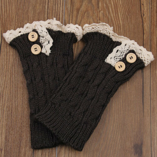 Women Crochet Knitted Lace Trim Button Leg Warmers Cuff Toppers Short Boot Socks