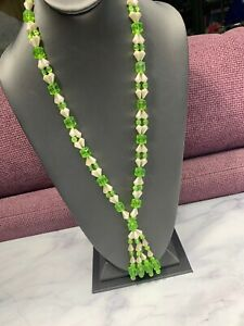 Vintage-white-Spring-Green-woven-imitation-pearl-beaded-Necklace-Tassel-32-Long