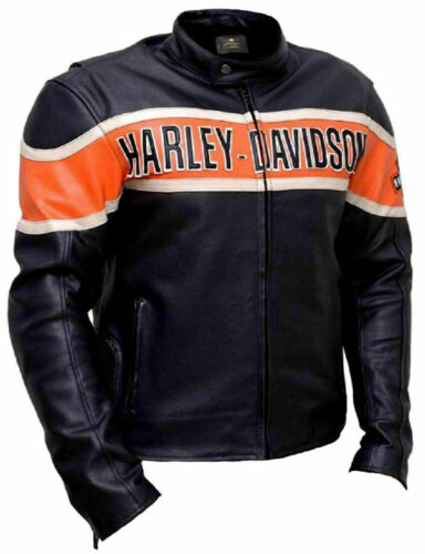 Harley Davidson Victory Lane Style Special Biker Genuine Cowhide Leather Jacket