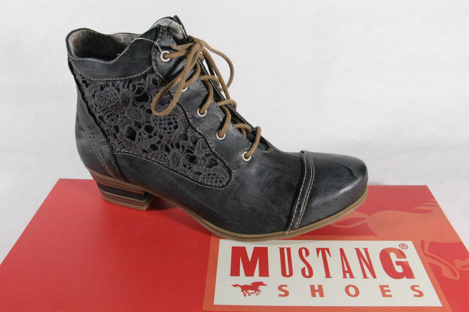 Mustang Stiefel Stiefeletten Stiefelette Schnürstiefel Schnürstiefel Schnürstiefel Stiefel grau blau  NEU  Qualitätskontrolle