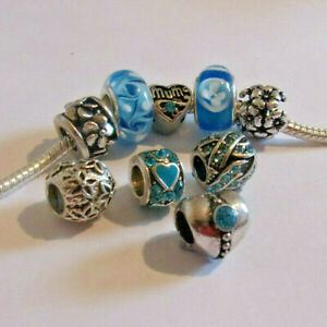 9-Sky-BLUE-Mix-MUM-Charm-Set-Charm-Bracelets-Necklaces-European-Mothers-Day