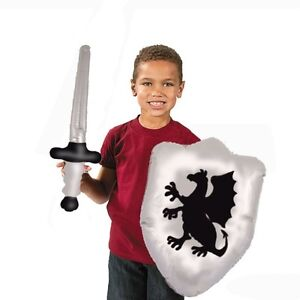 2-x-Kids-Inflatable-Blow-Up-Knights-Armour-Sword-amp-Shield-Toy-Play-Set-X99-317