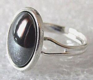 Genuine-Nero-Lucido-Ematite-Pietra-Preziosa-Anello-Regolabile-Taglia-M-P-in-confezione-regalo