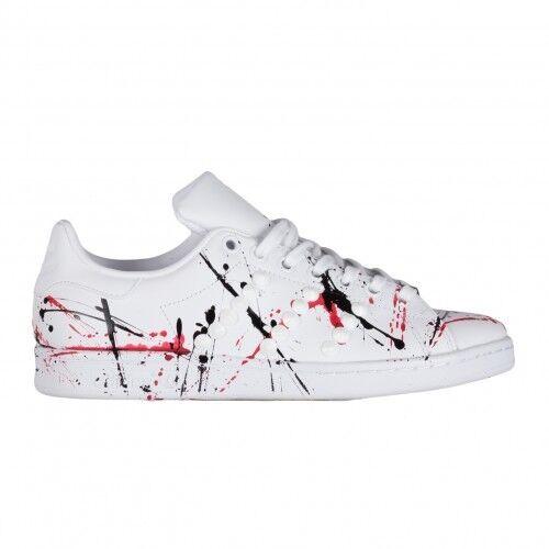 Adidas Stan Smith Stachel weiß Skizzen schwarze rot Schuhe Original 100% ITA
