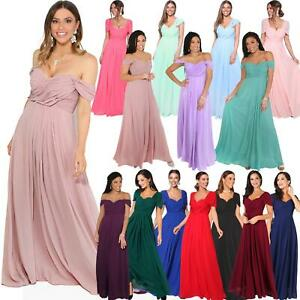 Womens-Formal-Evening-Wedding-Maxi-Prom-Dress-Long-On-Off-Shoulder-Ball-Gown