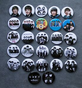 Pin button badge THE BEATLES music group.  a set of 27 pieces