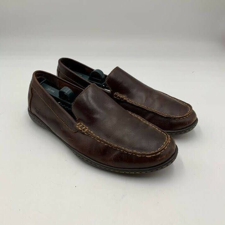 Born Men's Sz 9 Harmony Brown Leather Driving Moccasins Loafers Moc Toe H02406