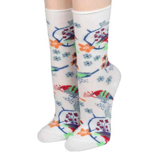 Crönert Socken Longsocks mit Rollsaum Design Vögel und Blüten 18902