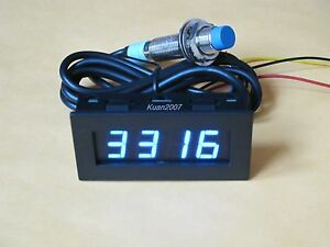 4-Digital-Blue-LED-Tachometer-RPM-Speed-Meter-Proximity-Switch-Sensor-NPN-3-Wire