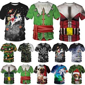 Mens-Womens-Carnival-Santa-Funny-Ugly-T-Shirt-Rudolph-Reindeer-Short-Sleeve-Tops